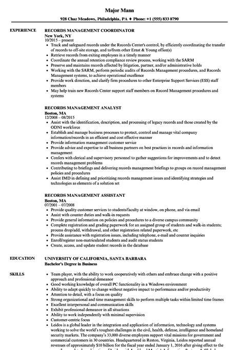 records management resume sles velvet