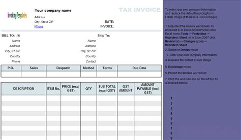 invoice with gst template australian invoice template excel invoice sle template