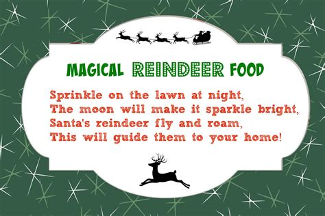 printable reindeer food poems magic reindeer food printable poem new calendar template