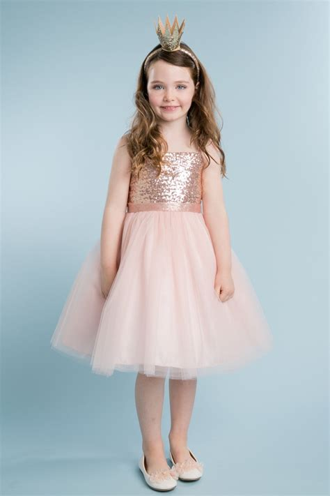 Tulle Top Dress blush sequin top dress with overlay tulle skirt flower