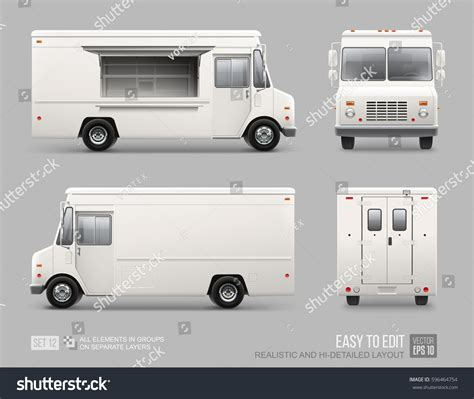 food truck brand design white food truck hidetailed vector template stock vector