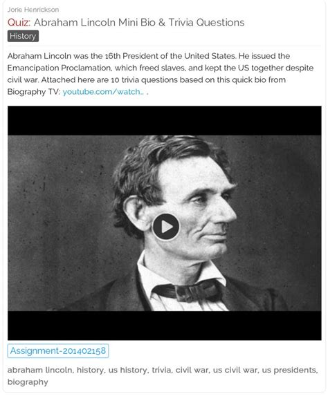 Abraham Lincoln Biography Questions | 10 best images about trivia quizzes schoolfy com on