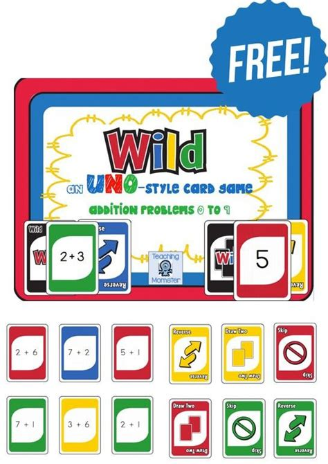 printable uno card game rules math games today and style on pinterest