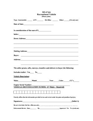 Massachusetts Recreational Vehicle Bill Of Sale Form Templates Fillable Printable Sles Bill Of Sale Template Ma