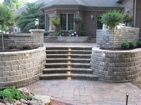 Retaining Wall Stairs Design B T Klein S Landscaping Hardscapes Retaining Walls