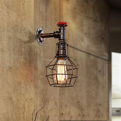 edison style cage table l loft style iron cage water pipe l edison wall sconce