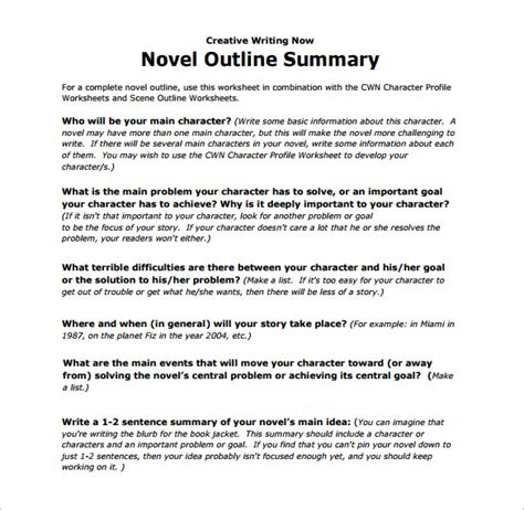 novel outline templates 21 outline templates free sle exle format