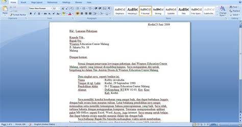 contoh surat lamaran kerja terbaru 2013 asiknya berbagi informasi