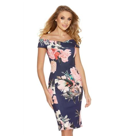 Flower Midi Dress W7989uio I quiz navy and pink flower print bardot midi dress