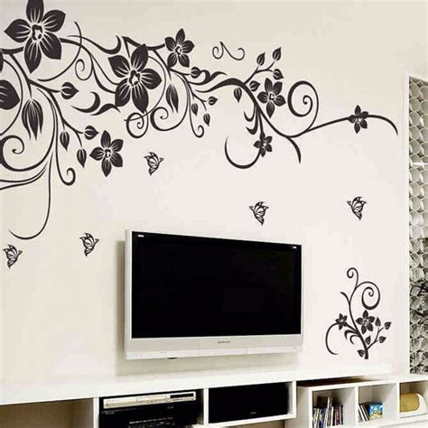 diy removable plastic black plant flower wall stickers