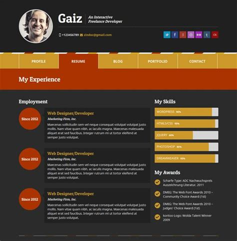 wordpress horizontal layout this vcard wordpress theme comes with bootstrap