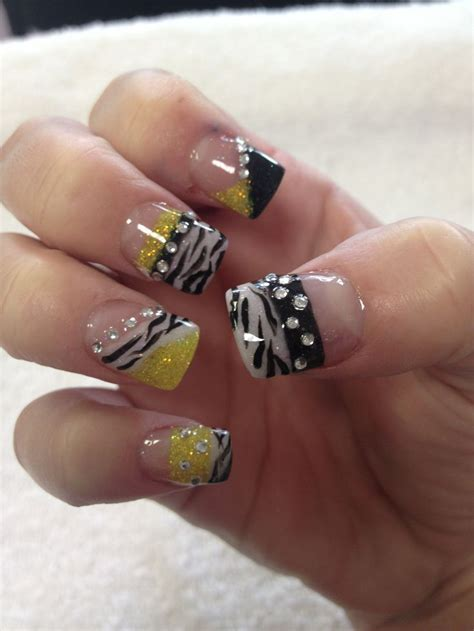 nails designs yellow acrylic and white dimonds nails yellow acrylic black white zebra