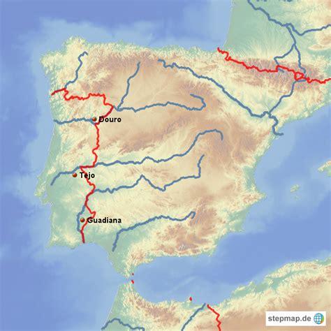 fluss in portugal l 228 ngster fluss patzer landkarte f 252 r portugal