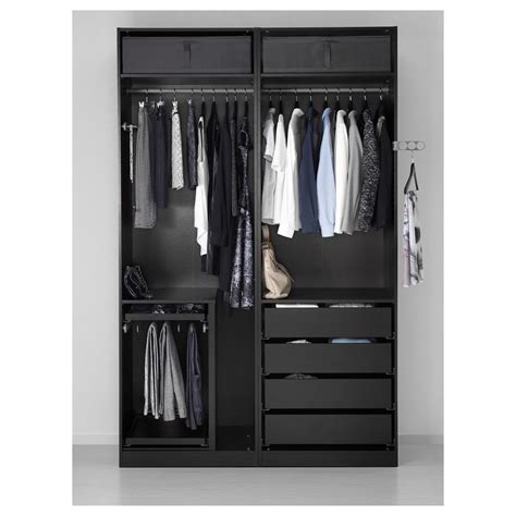 Black Fitted Wardrobes by Pax Wardrobe Black Brown F 228 Rvik White Glass 150x66x236 Cm