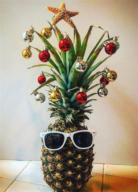 fun pineapple christmas tree idea with a tropical island