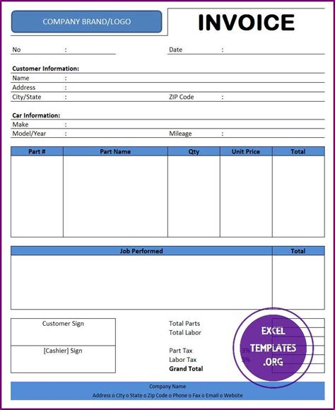 Car Parts Receipt Spredsheet Template by Auto Repair Invoice Template Excel Templates Excel