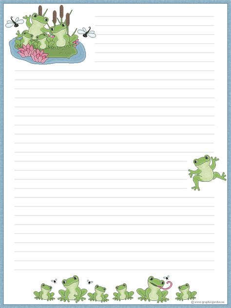 frog border writing paper graphicgarden from graphicgarden stationery