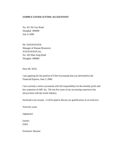 accounting cover letter 2 basic accountant cover letter sles and templates 1069