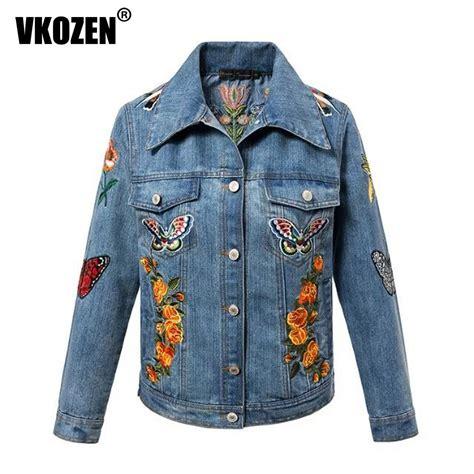 pattern jeans jacket women tiger butterfly flower bird animal pattern