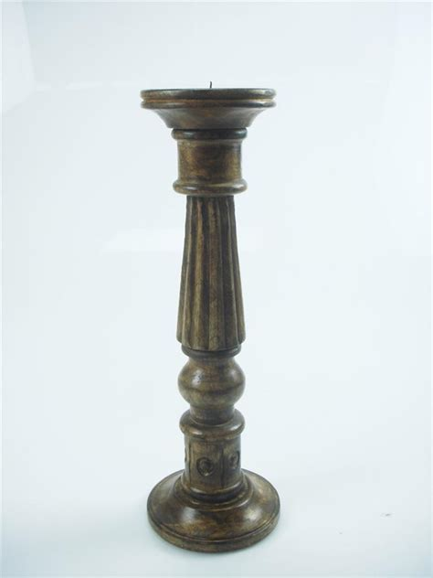 Rustic Candle Holders 46 36 Or 20cm Rustic Carved White Wood Pillar Church