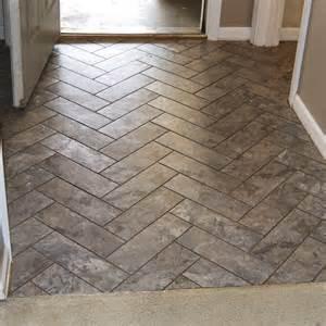 Floor Vinyl Tiles by Diy Herringbone Peel N Stick Tile Floor Grace Gumption