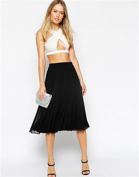 Pleated Midi Cullote style trend pleated skirts shopswell