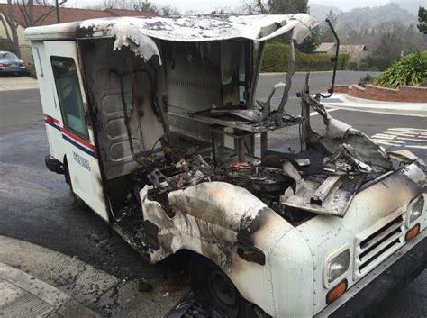 photo u s postal service truck burns in walnut creek
