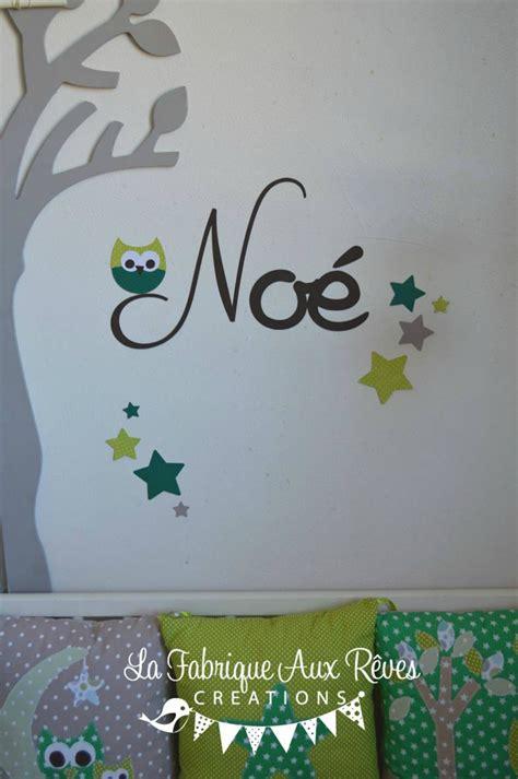 Prenom Chambre Bebe by Stickers Pr 233 Nom Gar 231 On Hibou 233 Toiles Chocolat Anis Vert