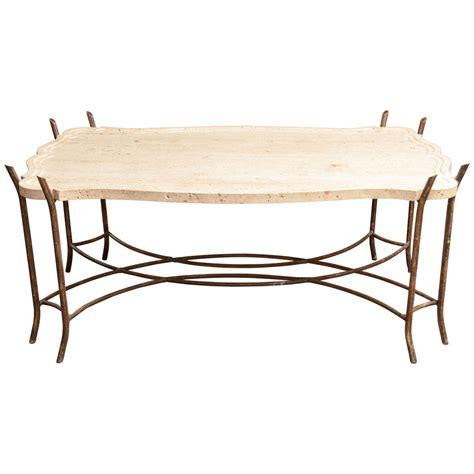 Faux Bois Iron Base Limestone Top Coffee Table With Limestone Coffee Table