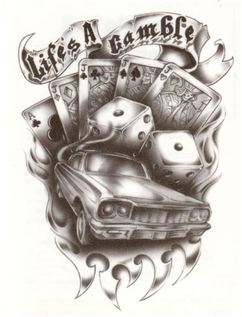 urban life s a gamble cards dice car temporary tattoo