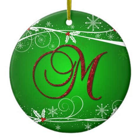 red greens holly initial m christmas ornament zazzle