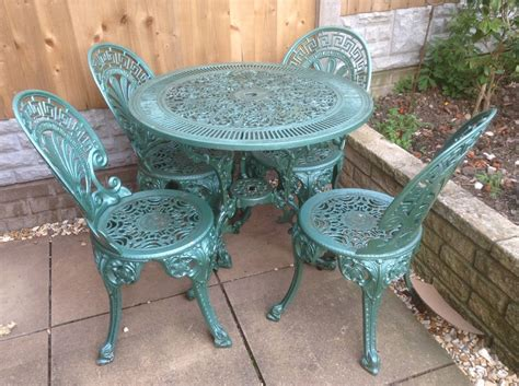 Cast Iron Patio Set Table Chairs Garden Furniture Vintage Cast Iron Garden Furniture Table And Chairs 163 101 00 Picclick Uk