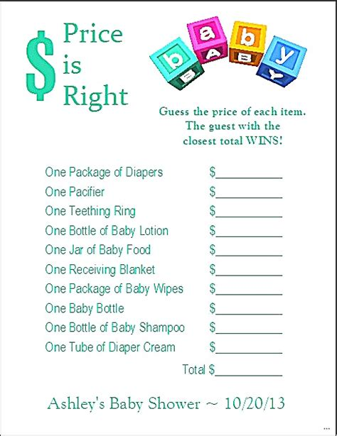 Price Is Right Baby Shower Free Printable by Printable Price Right Baby Shower Template Picture