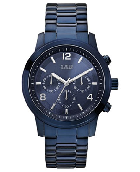guess s chronograph blue ion plated stainless