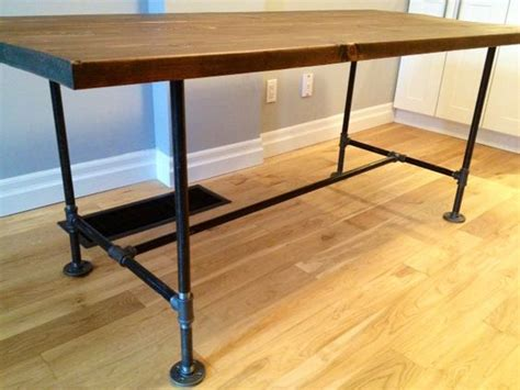 diy desk legs great details including supply list for a diy table with plumbing pipe legs and trestle