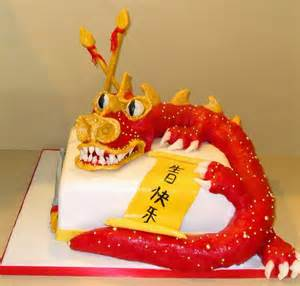 red chinese dragon birthday cake with happy birthday in