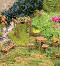 Miniature Garden Bench Miniature Fairy Garden Ivy Furniture Set Garden Whimsy
