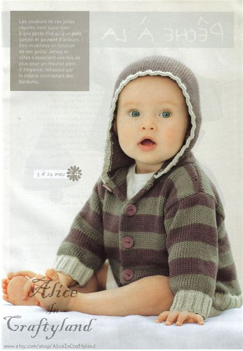 knitting pattern baby sweater with hood english baby knitting pattern hooded striped sweater