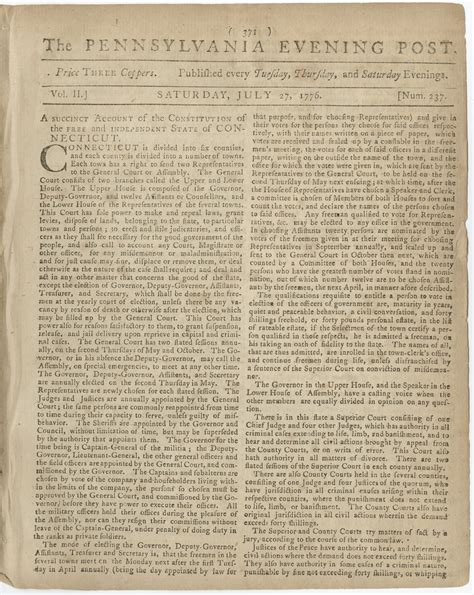 constitution printed for dissemination in new york state with george the first newspaper to print the declaration of