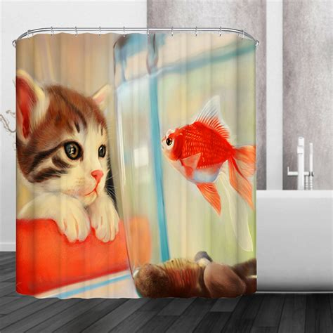 cat shower curtain hooks 4 types holiday puppy cat goldfish cat dog waterproof