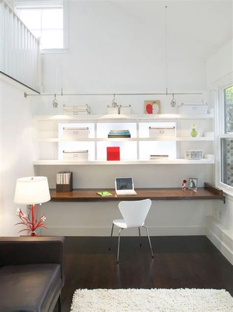 floating desk installation white woodworking projects