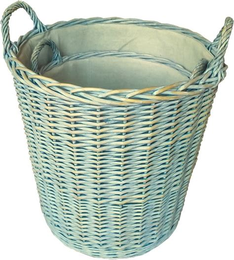 Lined Log Baskets For Fireplaces by Set Of Two Log Baskets Lined Savvysurf Co Uk