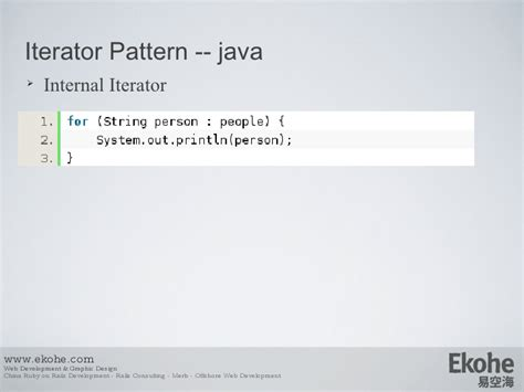 iterator design pattern in java code design pattern from java to ruby