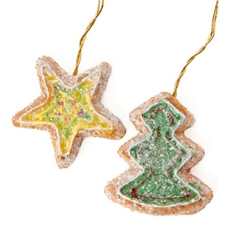 miniature gingerbread star and tree christmas ornaments