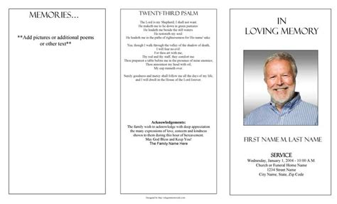 Funeral Program Templates Trifold Plain Template Free Funeral Program Template For Word 2