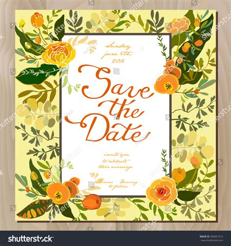 Wedding Invitations With Yellow Border by Wedding Invitation Card Floral Border Frame Stock Vector