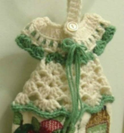 crochet pattern kitchen towel topper crocheted dress towel hanger thriftyfun