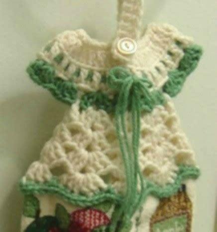 Crochet Kitchen Towel Topper by Crocheted Dress Towel Hanger Thriftyfun