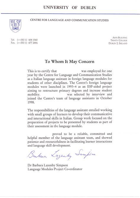 esempio lettere di referenze lettera di referenze in inglese cv in inglese