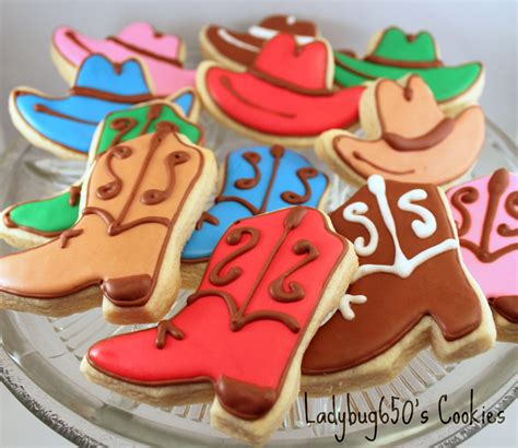 Cookies Handmade - 12 cowboy boot and hat cookies handmade iced by ladybug650